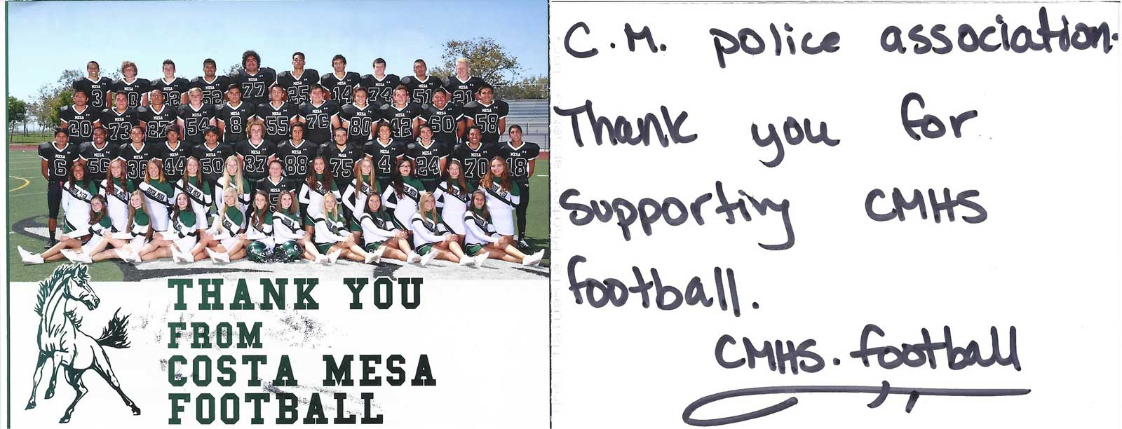 Thank you Post card from CM Football